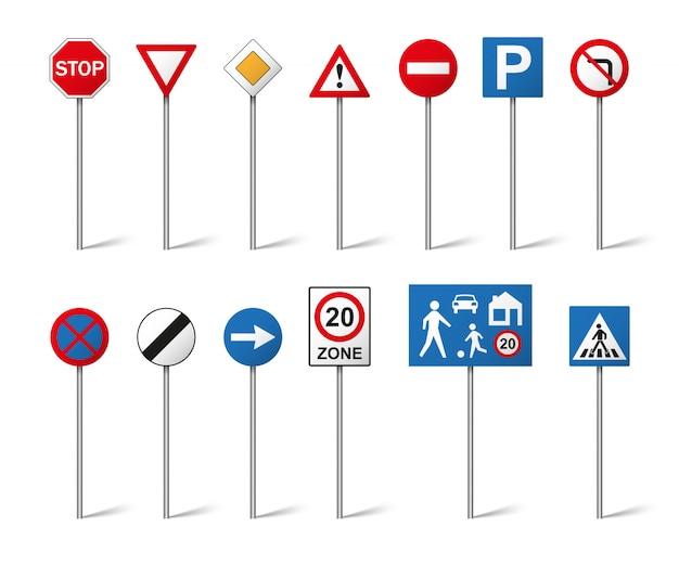Verkeersborden ingesteld op witte achtergrond. illustratie