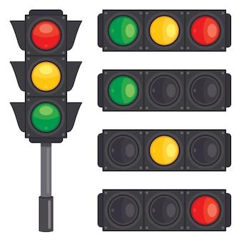 Verkeersconcept met lichten en materiaal