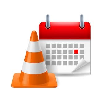 Verkeerskegel en kalender