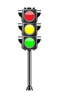 Verkeerslicht dat op wit wordt geïsoleerd