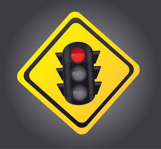 Verkeerslicht over gele teken vectorillustratie als achtergrond