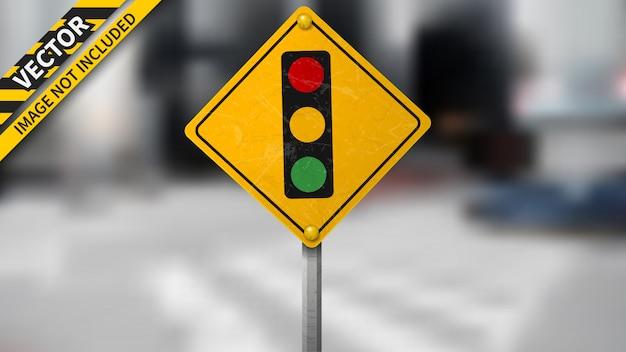 Verkeerslicht signaal verkeersbord op onscherpe achtergrond