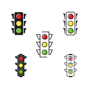 Verkeerslicht vector pictogram ontwerp illustratie template