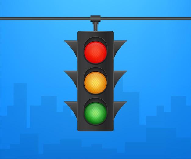 Verkeerslichten banner op blauwe achtergrond. vector voorraad illustratie.
