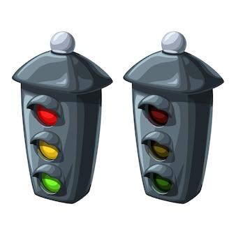 Verkeerslichten in twee omstandigheden