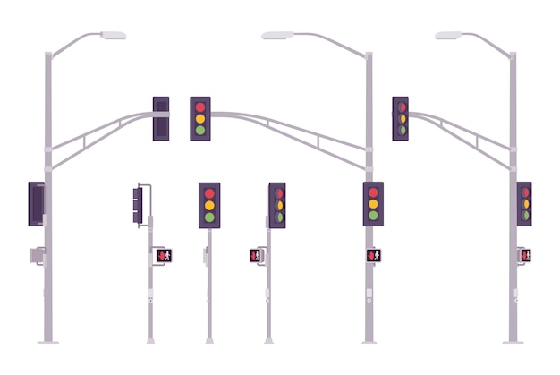 Verkeerslichten ingesteld. stadssysteem van gekleurde lichten die het verkeer regelen op kruispunten, kruispunten, richtingaanwijzers. landschapsarchitectuur en stedenbouw. stijl cartoon illustratie