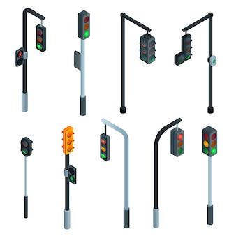 Verkeerslichten instellen. isometrische set van verkeerslichten