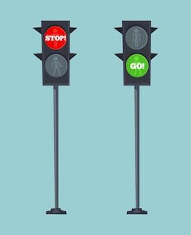 Verkeerslichten stoppen rood en gaan groen bord