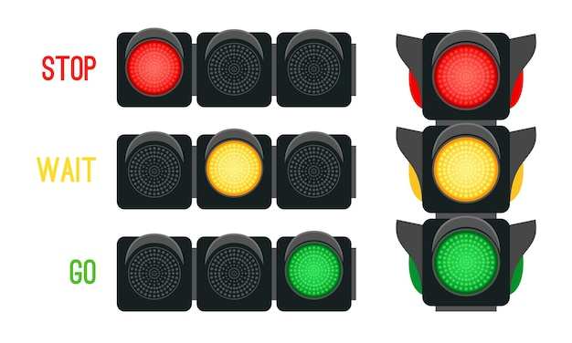 Verkeerslichtenconcept. veiligheidssignalen voor het rijden van vervoer in de stad, stedelijke veiligheid met semaforen, vectorillustratie stoplichten voor kruispunt straat geïsoleerd op witte achtergrond