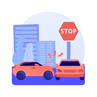 Verkeersongeval abstract concept vectorillustratie. verkeersongevallenrapport, schending van verkeerswetten, onderzoek van één auto-ongeluk, letselstatistieken, abstracte metafoor voor botsingen met meerdere voertuigen.