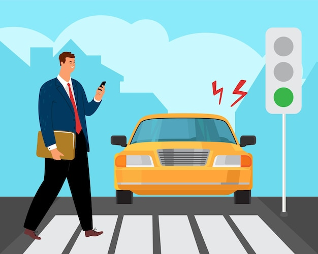 Verkeersongeval met voetgangers. man op kruispunt kijken naar telefoon.