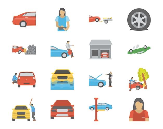 Verkeersongevallen en voertuig zorg plat pictogrammen