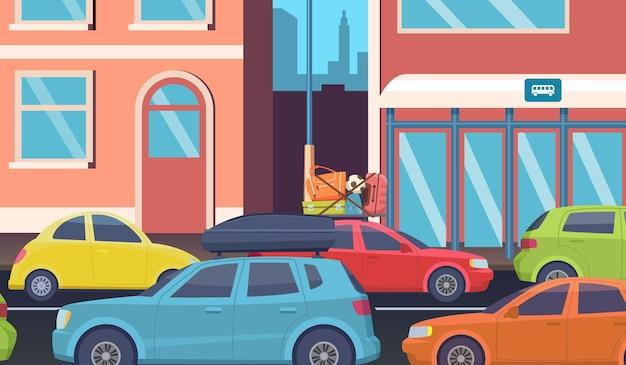 Verkeersopstopping in het centrum. ochtendwegproblemen, auto's op straat in de stad. mensen rijden naar kantoor