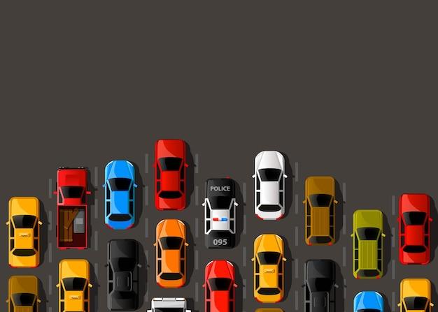 Verkeersopstopping op de weg. wegtransport. achtergrond