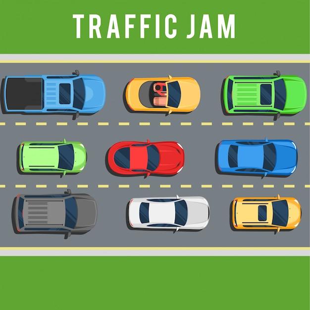 Verkeersopstopping op de weg