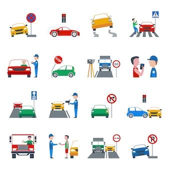 Verkeersovertreding icons set