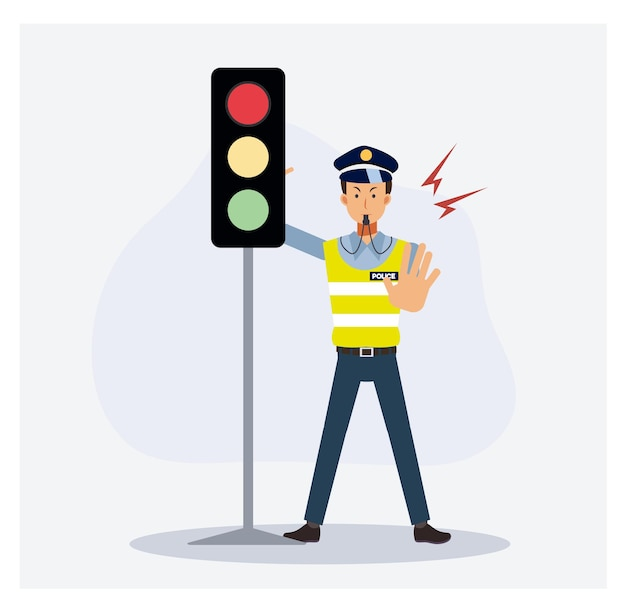Verkeerspolitie bij het stoplicht staat met de hand op om de auto te stoppen