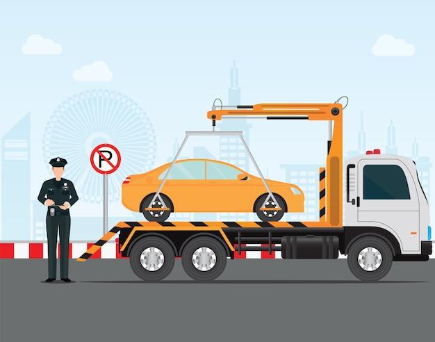 Verkeerspolitieagent die een kaartje op geen parkeerplaats schrijft