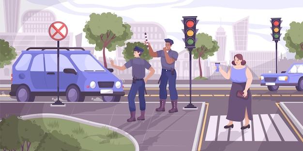 Verkeerspolitiescène met stopsignaal vlakke afbeelding Gratis Vector
