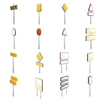 Verkeerstekens pictogrammen instellen. beeldverhaalillustratie van 16 verkeerstekenpictogrammen voor web