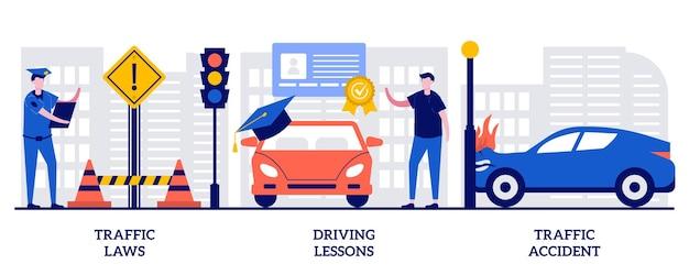 Verkeerswetten, rijlessen, verkeersongevallenconcept met kleine mensen. rijbewijs vector illustratie set. verkeersveiligheid, overtreding boete, gecertificeerde instructeur, auto-ongeluk onderzoek metafoor.