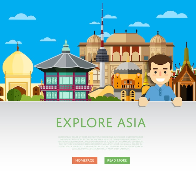 Verken azië-sjabloon met beroemde attracties