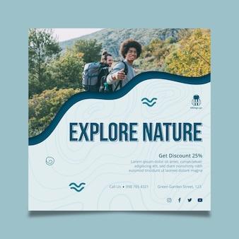 Verken de natuur vierkante flyer-sjabloon