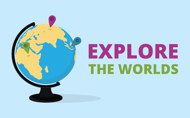 Verken de wereld citaat met globe