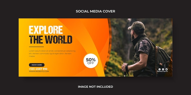 Verken de wereld op sociale media of facebook-omslag