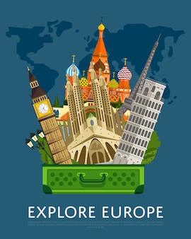 Verken europa banner met beroemde attracties.