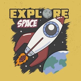 Verken space slogan goed voor tee graphic