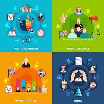 Verkiezingen concept set