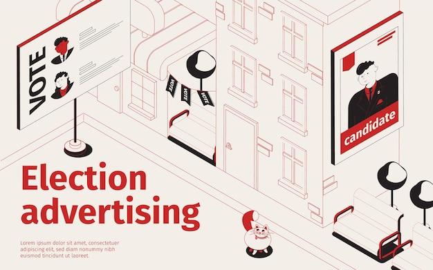 Verkiezingen die isometrische illustratie adverteren met reclameborden met portretten van verkiezingskandidaten