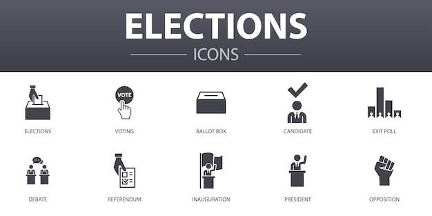 Verkiezingen eenvoudig concept pictogrammen instellen. bevat pictogrammen zoals stemmen, stembus, kandidaat, exit-poll en meer, kan worden gebruikt voor web, logo, ui/ux