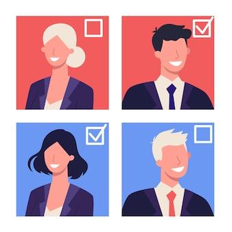 Verkiezingen in het concept van de vs. voorverkiezingen en voorverkiezingen. idee van politiek en amerikaanse overheid. mensen stemmen op de kandidaat. democratie en regering.