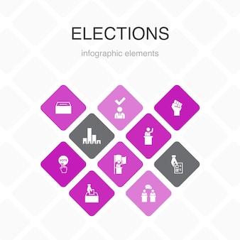 Verkiezingen infographic 10 optie kleurontwerp. stemmen, stembus, kandidaat, exit poll eenvoudige pictogrammen