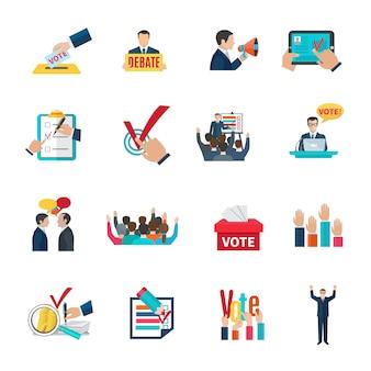 Verkiezingen met stemdebatten en agitatiepictogrammen die worden geplaatst