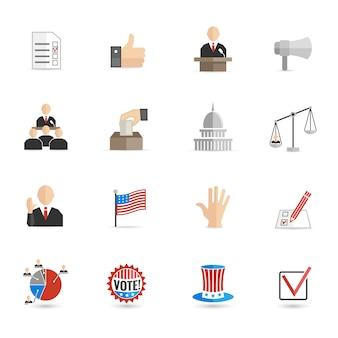 Verkiezingen pictogrammen platte set