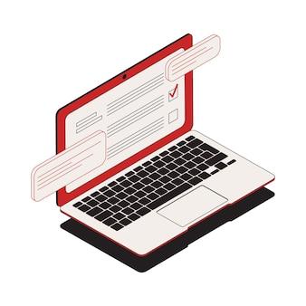 Verkiezings isometrische samenstelling met geïsoleerd beeld van laptop met elektronische stemming en stemtekenillustratie