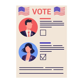 Verkiezingscampagne concept. mensen stemmen op de kandidaat. amerikaanse presidentsverkiezingen 2020. Premium Vector