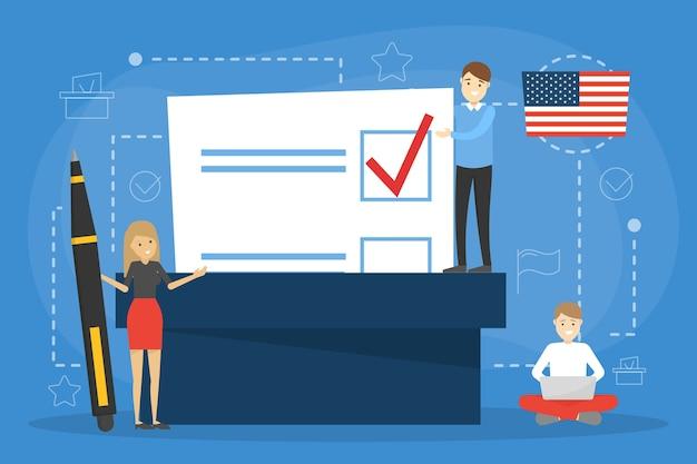 Verkiezingscampagne concept. mensen stemmen op de kandidaat. beslissing nemen en stembiljet in de doos stoppen. idee van democratie en regering. illustratie in cartoon-stijl