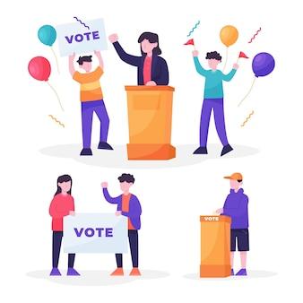 Verkiezingscampagne scènes collectie