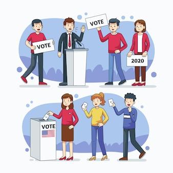 Verkiezingscampagne scènes ingesteld