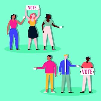 Verkiezingsdag democratie met diversiteitsmensen en borden