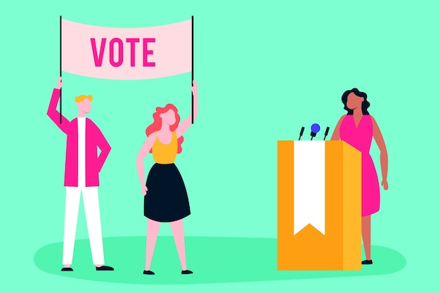 Verkiezingsdag democratie met kiezers en kandidaat die een toespraak houden