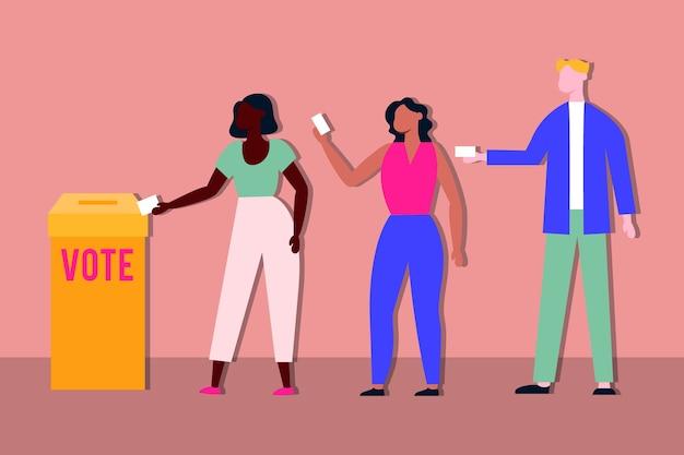 Verkiezingsdag democratie met kiezers in stemkastje