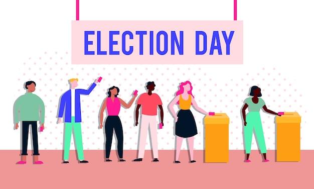 Verkiezingsdag democratie met kiezers in stemkastjes