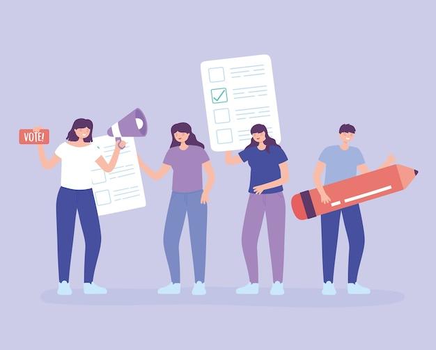 Verkiezingsdag, mensen met stembiljet megafoon en potlood vectorillustratie