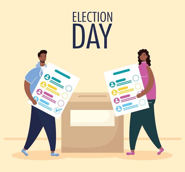 Verkiezingsdag met afro paar stemkaarten in doos opheffen