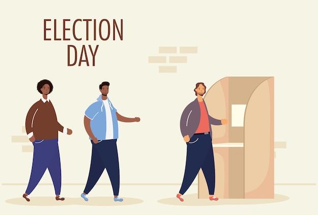 Verkiezingsdag met interraciale mannen groep in stemhokje